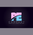 pe alphabet letter join joined letter logo design vector image vector image