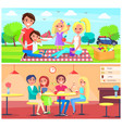 picnic cafe poster happy family have fun together vector image