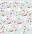 romantic seamless pattern with flowers and cups on vector image vector image
