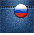 Russian Federation Flag Badge on Denim Fabric Text vector image vector image