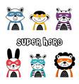 set isolated superhero animals part 2 vector image