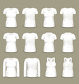 set of isolated white woman t-shirts and tunic vector image