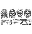set of millitary skulls vector image