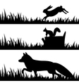 set silhouettes of animals in the grass vector image