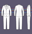 Simple outline drawing of a mens suit vector image vector image