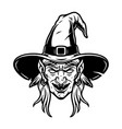 spooky witch head in hat concept vector image vector image