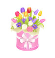 spring delicious flower tulips bright daisiy box vector image vector image