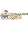 the basis for low carb diets text background word vector image vector image