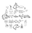 veterinarian icons set outline style vector image vector image