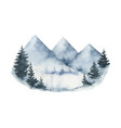 watercolor winter landscape with mountains vector image