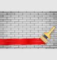 white brick wall and brush vector image vector image
