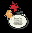 Cute monster and banner with bone vector image