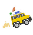 picture yellow suv quickly rides and from it fall vector image