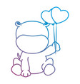 cute hippo with balloons air character icon vector image