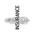 a guide to car and motor insurance text word vector image vector image