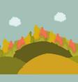 autumn landscape hills bushes foliage clouds sky vector image