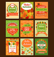 autumn season sale retro banner and tag set design vector image vector image