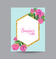 blooming spring and summer golden floral frame vector image vector image