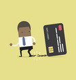 businessman breaks from the chain to credit card vector image vector image