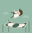 businessman falling into a financial safety net vector image vector image