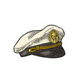 captain hat on white background vintage vector image