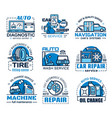car service auto spare parts oil and wheel tire vector image vector image