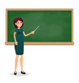 cartoon flat women with pointer in the classroom vector image vector image
