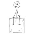 cartoon of man or businessman sitting on box and vector image vector image