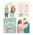 cartoon set couples in love and spring elements vector image