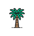 coconut palm tree flat color line icon isolated vector image