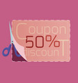 coupon discount design template 50 discount for vector image