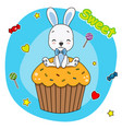 cute bunny sitting on a cupcake vector image vector image
