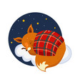 cute cartoon fox sleeping on a cloud covered vector image