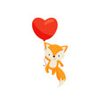 cute fox flying with bright red heart-shaped vector image vector image