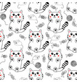 cute kawaii style hand drawn kittens seamless vector image vector image