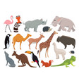 cute wild animals in cartoon style vector image