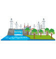 dam and electricity buildings by the river vector image vector image