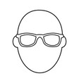 face man wear glasses character outline vector image vector image