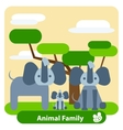 Family of elephants tree background clouds vector image