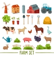 Farm multicolored icon set vector image vector image