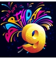 Fireworks Happy Birthday with a gold number 9 vector image vector image