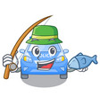 fishing miniature cartoon police car on table vector image vector image