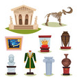 flat set of museum exhibits mammoth vector image