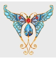 Gold butterfly with blue wings and precious stones vector image vector image