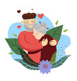 grandfather hugs grandmother plants and flowers vector image