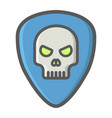 guitar pick with skull filled outline icon music vector image vector image