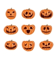 Halloween pumpkin icons set Emotion vector image