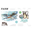 hand drawn farm colorful concept vector image vector image