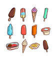 hand drawn sketch of different ice cream vector image