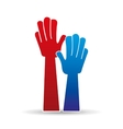 hands raised hands up sign icon vector image